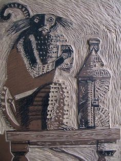 """A printing block made by Clive Hicks-Jenkins for his cover illustration for """"Witch"""" by Damian Walford-Davies"""