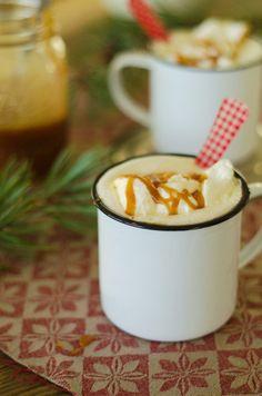 Hot White Chocolate with Salted Caramel, Vanilla and Dark Rum