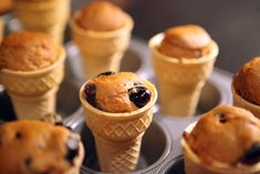 Honey and Blueberry Muffin Cones, preschool snack, after school snack, kid snack - COOKING