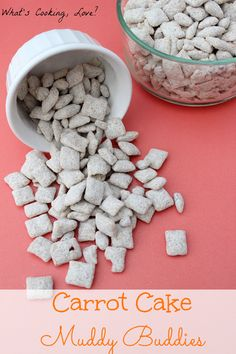 A great and easy snack that is made with carrot cake… Carrot Cake Muddy Buddies. A great and easy snack that is made with carrot cake mix. Puppy Chow Snack, Puppy Chow Recipes, Snack Mix Recipes, Dessert Recipes, Snack Mixes, Cake Recipes, Easy Snacks, Yummy Snacks, Yummy Treats