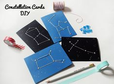 With Valentines Day just around the corner I figured there would be no better excuse to indulge in creating a special DIY inspired by my love of constellations. Valentines Bricolage, Valentine Day Crafts, Valentine Ideas, Image Clipart, Art Clipart, Constellations, Envelopes, Saint Valentin Diy, Kids Cards