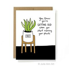 Funny birthday card 30th birthday 40th birthday things that funny birthday card plant lady you know youre getting old when bookmarktalkfo Image collections