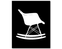 Wall Art - Molded Plastic Eames Rocking Chair - Charles & Ray Eames- Mid-Century Modern Furniture - print - Room Decor