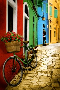 Romantic green bike with red roses in its flower basket on a quaint, colorful European road - photography bicycle poster