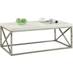 Monarch Specialties Inc. Monarch Coffee Table ($134) ❤ liked on Polyvore featuring home, furniture, tables, accent tables, chrome shelf, white lacquer table, rectangle coffee table, top table and chrome shelving