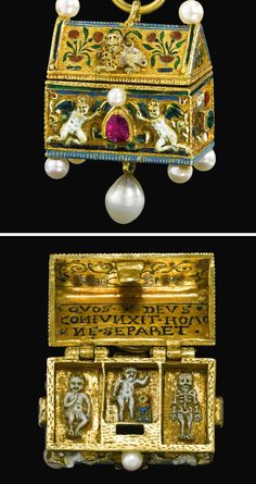 An interesting pendant : He was born, lived, died in this home. Germany, late 16th - early 17th century Gold, enamel, rubies, diamonds
