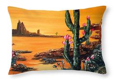 """The Painted Desert Throw Pillow 20"""" x 14"""" Cover is Machine washable."""