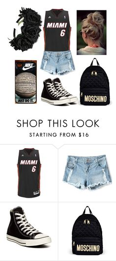 """""""Basketball game"""" by aiesha-m ❤ liked on Polyvore featuring adidas, Converse, Moschino and NIKE"""