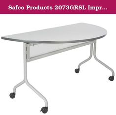 """Safco Products 2073GRSL Impromptu Half Round Mobile Training Table, 48""""W x 24""""D, Gray Top/Silver Base. Thrive on impulse. Impromptu Mobile Training Tables work together to create unique combinations for training sessions or conference meetings. 48""""W x 24""""D half round top of 1"""" thick high pressure laminate top with durable 3mm vinyl t-molding edge band. Top folds down easily for nesting and storage. 1 1/4"""" tubular steel base includes polycarbonate modesty panel. Mobile on four 3"""" dual…"""