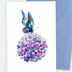 Butterfly Card Watercolour Art Flower Greetings card Hydrangea Card Purple butterfly Purple flower card by SueRocheIllustration on Etsy