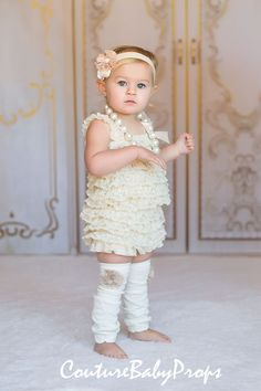 SALE Beige Cream Lace Romper baby girls ruffle by CoutureBabyProps