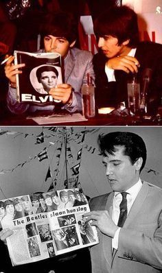 These aren't books, but ..  The Beatles reading about Elvis and Elvis reading about The Beatles.