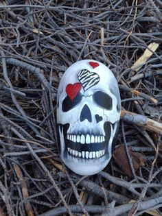 Lovely Bones  hand painted Skull n Hearts by MyGardenRocks on Etsy, $24.00