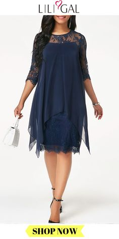 This trending styles feature layers of flowing navy fabric and unique embellishments that will stand out. Cocktail Dresses With Sleeves, Lace Dress With Sleeves, Lace Midi Dress, Chiffon Dress, Big Dresses, Casual Dresses, Fashion Dresses, Dresses For Work, Summer Dresses