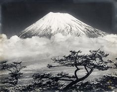 Sakura-do Vintage Photography: Koyo Okada Item: Active Volcano, Mount Fuji, Black And White Pictures, Vintage Photography, Japanese Art, Serenity, Natural Beauty, Eye Candy, Artsy