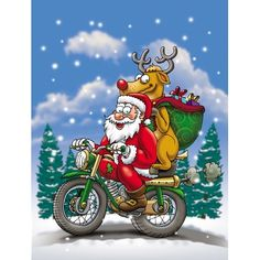 Caroline's Treasures Caroline's Treasures Christmas Santa Claus on a Motorcycle Glass Cutting Board - Adventskalender Basteln Christmas Cartoons, Christmas Humor, Christmas Pictures, Christmas Art, Christmas Vases, Christmas Stencils, Christmas Cover Photo, Harley Davidson, David Mann Art