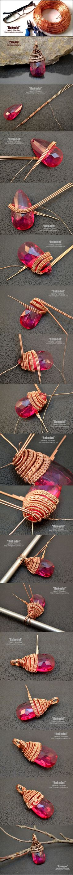 wire wrapped jewelry Ideas, Craft Ideas on wire wrapped jewelry Wire Jewelry Making, Jewelry Making Tutorials, Wire Wrapped Jewelry, Wire Tutorials, Jewellery Making, Wire Crafts, Jewelry Crafts, Handmade Jewelry, Jewelry Ideas
