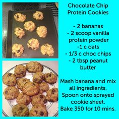 Best Protein Powder(s) to lose weight & gain muscle? Chocolate Chip Protein Cookies – banana, protein powder, oats, chocolate chips, and peanut butter Protein Desserts, Protein Snacks, High Protein, Healthy Protein Cookies Recipe, Tasty Cookies, Protein Cake, Protein Power, Protein Bites, Lean Protein