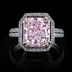 5 carat Fancy Purplish Pink Radiant Cut Diamond Ring