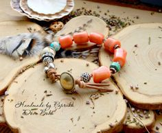 Bracelet style boho with coral natural form beads by SirinGarden