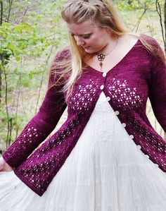 Free Knitting Pattern for Krydda Cardigan - Long-sleeved cardigan features a flattering V-neck and a lace stitch that starts at the yoke wraps around from the fronts to meet in the back. Worked seamlessly in one piece from the top-down. Designed by Yarn-Madness. Sizes XS (S, M, L, 1X, 2X, 3X). Available in English and Swedish.
