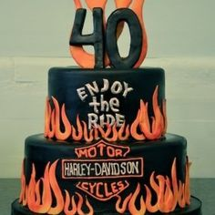 Harley Davidson Birthday Cake but could easily be a wedding cake