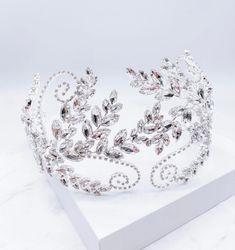 Ai & E silver Bridal headpiece Bridal Hairpiece, Princess Tiara, Wedding Hair Pieces, Bride Hairstyles, Hair Pins, Jewels, Photo And Video, Crystals, Floral