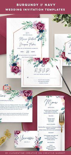 This wedding invitation set with burgundy and navy watercolour florals and eucalyptus is perfect for a woodland, autumn or forest wedding. It includes a total of 10 inserts to complete your wedding day. #woodlandwedding #burgundyandnavy #watercolorwedding #eucalyptuswedding #weddinginvitations #forestwedding #floralweddinginvitation #burgundywedding