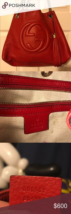 Gucci Red Soho Gold Chain Strap Bag Gucci Red Soho Gold Chain Strap Bag                      💯% AUTHENTIC !!!!!      Inside lining has some marks Outside is in great condition   Comes with duster bag Gucci Bags Shoulder Bags
