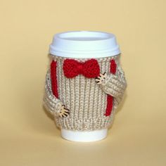 Travel mug cozy. Doctor Who Cup sweater. Bow ties are cool. Coffee cozy Knitted cup sleeve. Beige red bow tie. Eco-friendly Cup cozy