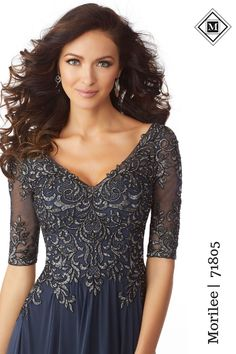 a63ea8ed Stretch Mesh Special Occasion Dress with a V-Neck Bodice Accented in Beaded,  Metallic