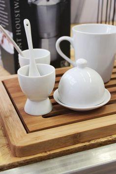 hueveras y cucharas, mantequera porcelana, taza porcelana