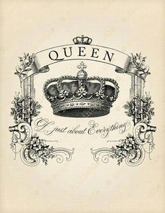 QUEEN of Just About Everything quote Instant by ProjectPrintable Transfer Onto Wood, Foto Transfer, Transfer Paper, Heat Transfer, Mothers Day Drawings, Crown Images, Etiquette Vintage, Iron On Fabric, Letter Size Paper