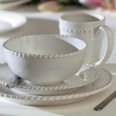 Birch Lane Milford 16 Piece Dinnerware Set Crafted of embossed stoneware, this white dinner set includes four dinner plates, four salad plates, four bowls, and four mugs. Stoneware Dinnerware Sets, Square Dinnerware Set, Farmhouse Dinnerware Sets, Casual Dinnerware, White Dinnerware Sets, Dinnerware Ideas, Modern Dinnerware, White Dishes, White Plates