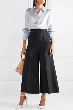 9a86e1be3a7e4 Roksanda - Cropped Wool-blend Wide-leg Pants - Black Black Pants Outfit