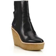 Derek Lam 10 Crosby Sandy Leather Crepe Platform Booties