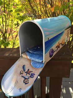 Seascape Beach mailbox Hand Painted Mailbox by OlenkasArt Rural Mailbox, Diy Mailbox, Mailbox Ideas, Unique Mailboxes, Painted Mailboxes, Mailbox Makeover, Seascape Paintings, Malm, Beach House Decor