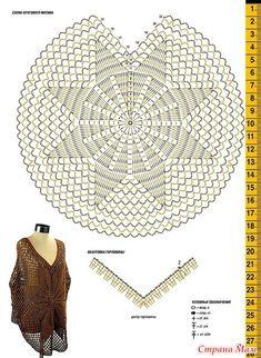 . Бронза и сирень. Пончо и пуловер\пончо. Crochet Scarf Diagram, Crochet Cardigan, Easy Crochet Patterns, Crochet Shawl, Crochet Stitches, Knit Crochet, Crochet Baby, Crochet Circles, Crochet Clothes