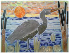 This 2x3' mosaic tile heron design is quite simple; a sun, sky, water, land, and cattails. Life should be this good!