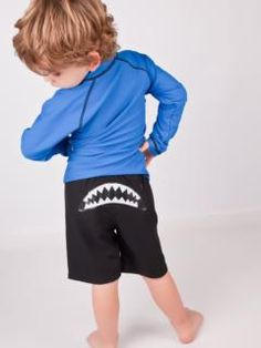 SwimZip Blue Rash Guard & Shark Attack