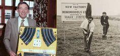 Fred Francis, inventor del Scalextric, poniendo la primera piedra de su fábrica en New Lane (Havant)