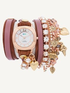 Champagne Stones-Crystal & Charms Wrap Watch | La Mer Collections' Unique Timepieces