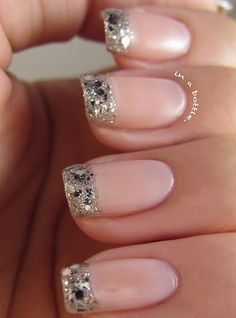 glittery tipped nails