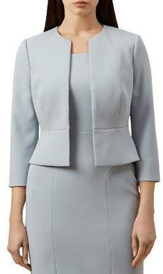 Hobbs London Harper Cropped Peplum Jacket - Female - Pale Blue - Size: 18 US Peplum Jacket, Peplum Dress, Casual Office Wear, Casual Wear, Office Uniform, Hobbs London, Look Blazer, Office Outfits Women, Blazer Outfits