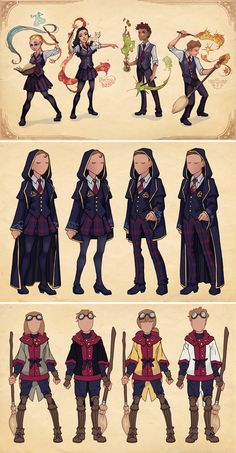Ilvermorny House Uniforms by Azure-and-Copper on DeviantArt Fanart Harry Potter, Capa Harry Potter, Harry Potter Mode, Estilo Harry Potter, Harry Potter Artwork, Harry Potter Drawings, Harry Potter Style, Harry Potter Characters, Harry Potter Universal