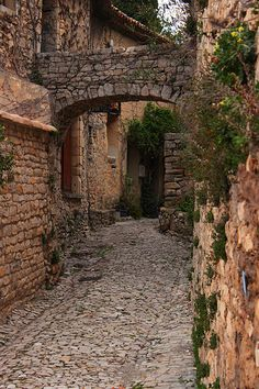 Ancient Cobblestone Street, Séguret, Provence, France