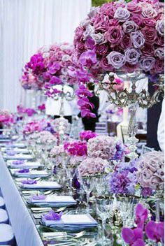 Love purple ...love the small vases so people see and smell but  can still talk, the tall make the WOW impact