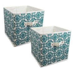 """DII Home Essentials Foldable Fabric Storage Containers for Nurseries, Offices, Closets, Home Décor, Cube Organizers & Everyday Use, 11 x 11 x 11"""", Scroll Teal - Set of 2"""