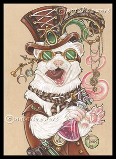 Dr. Weaselhoffer Steam Punk Ferret Signed Art Print - You Choose - 2.5x3.5, 5x7 or 8x10 Inch