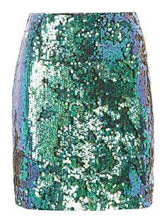 Sequin mini skirt.